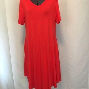 Red Knit Swing Dress